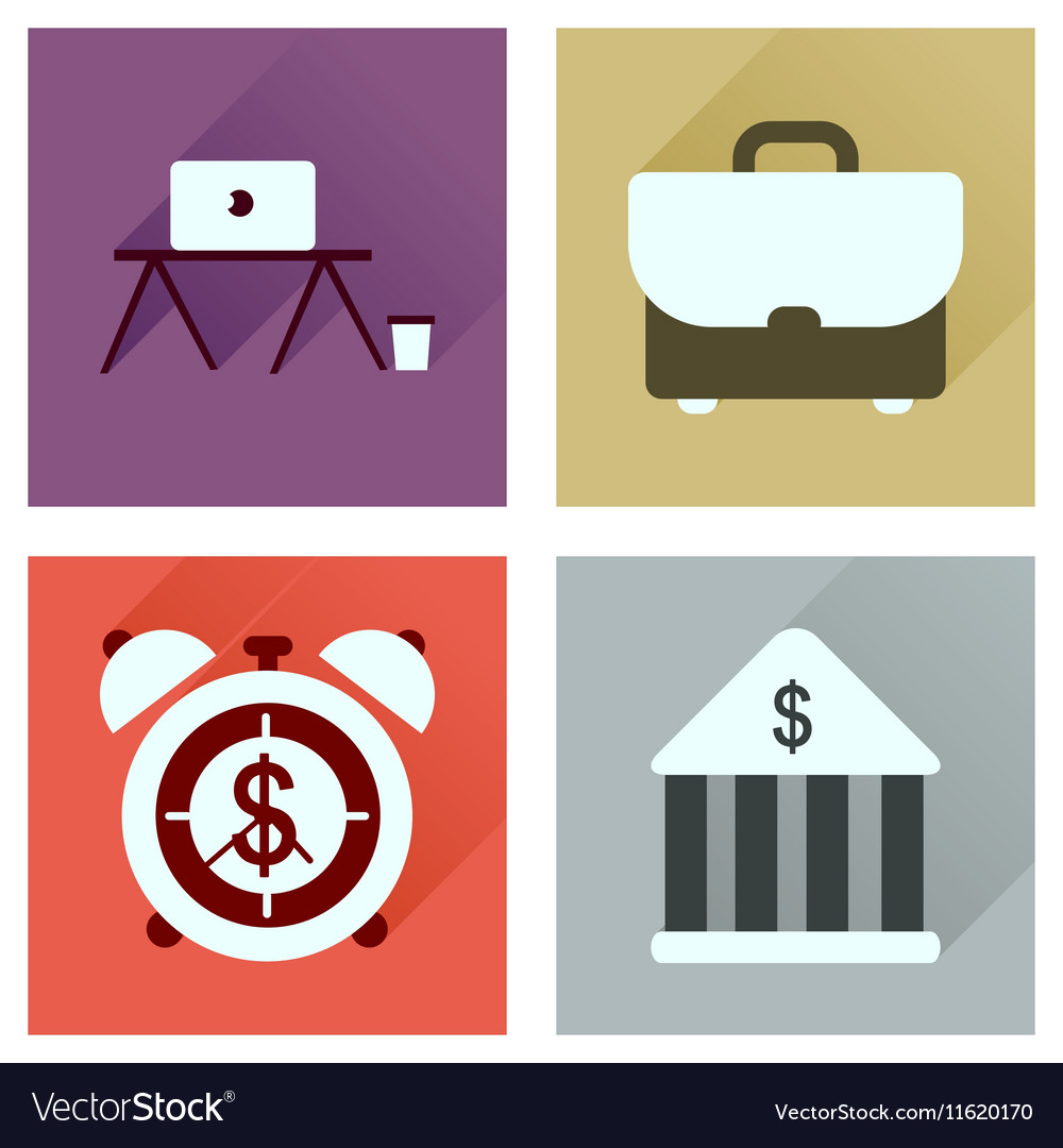 Concept of flat icons with long shadow economics