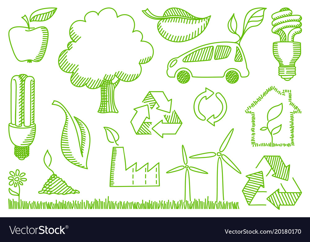 Environment doodles icons vector image