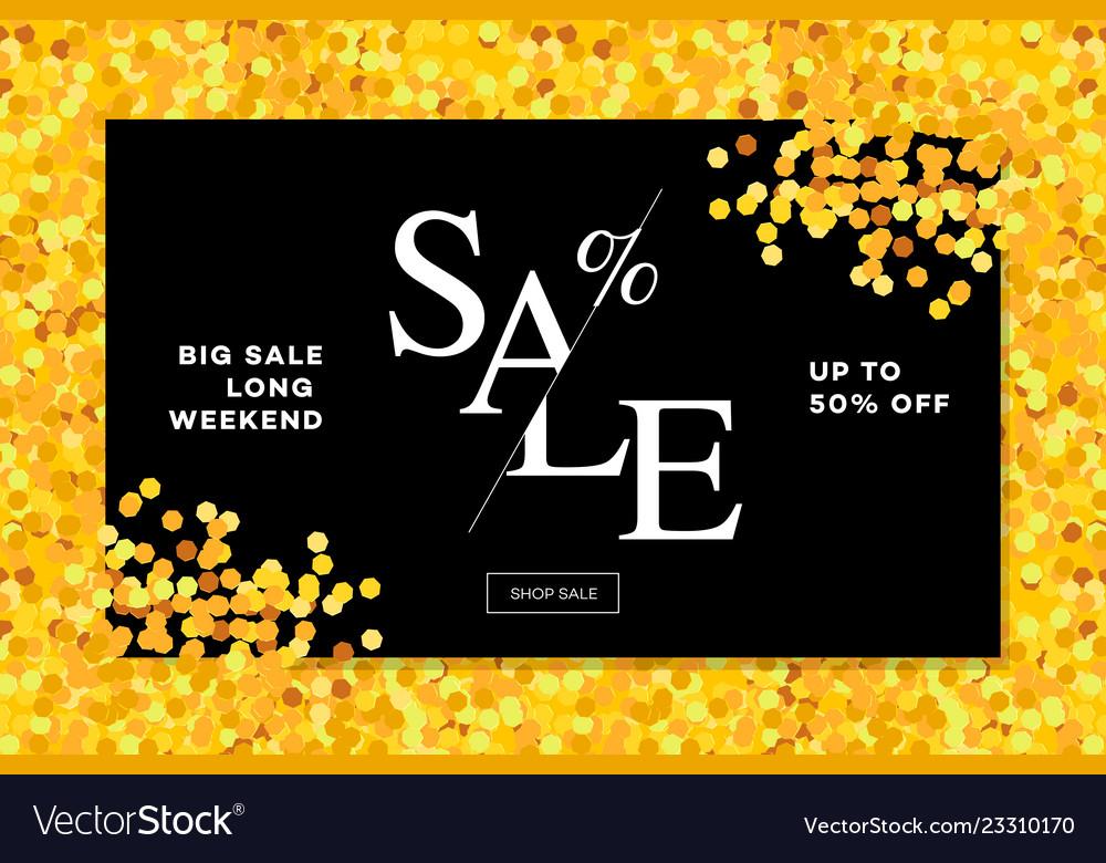 Gold sale background in frame golden glitter
