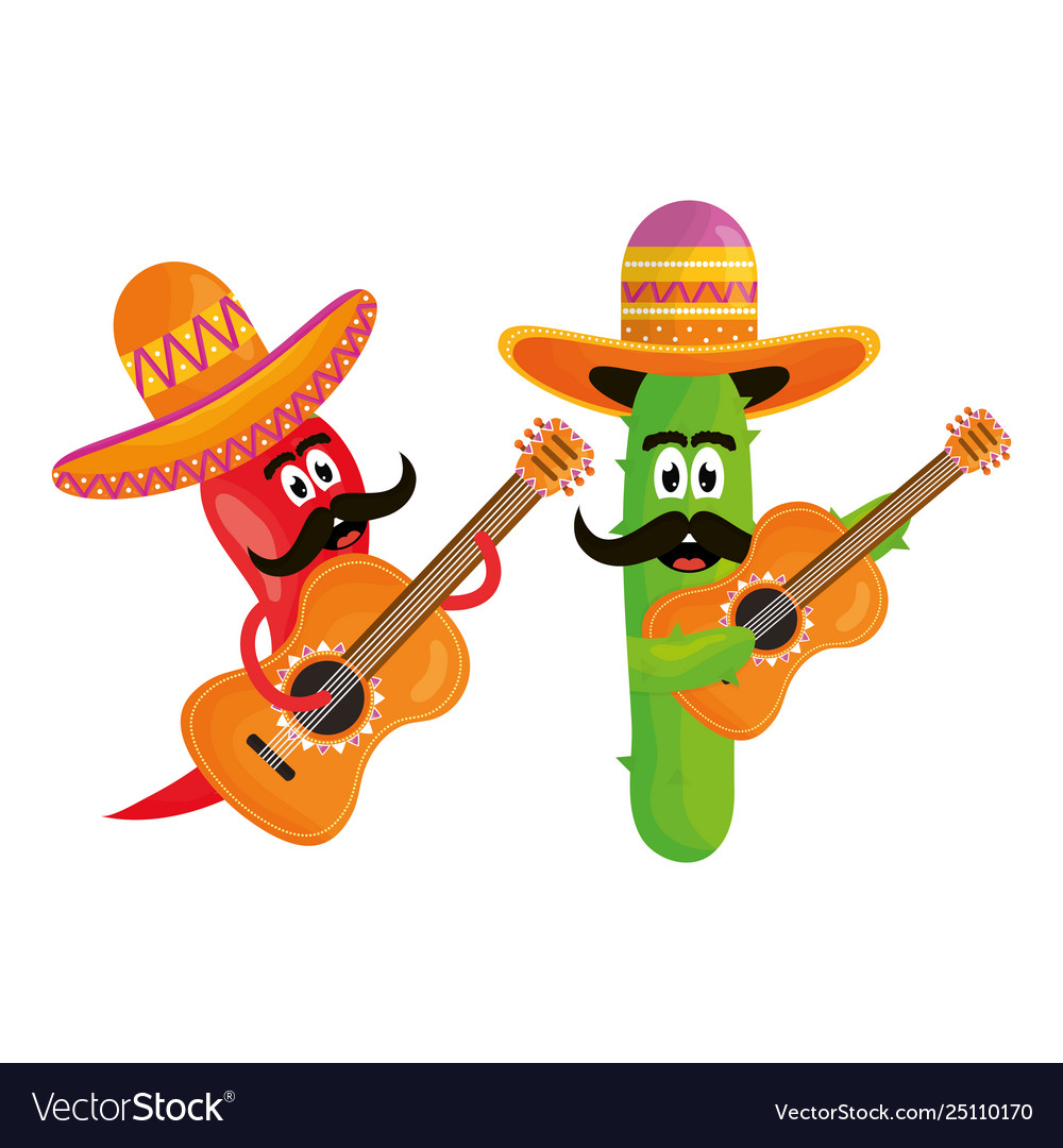 Mexican cactus and chilli with hats and guitars