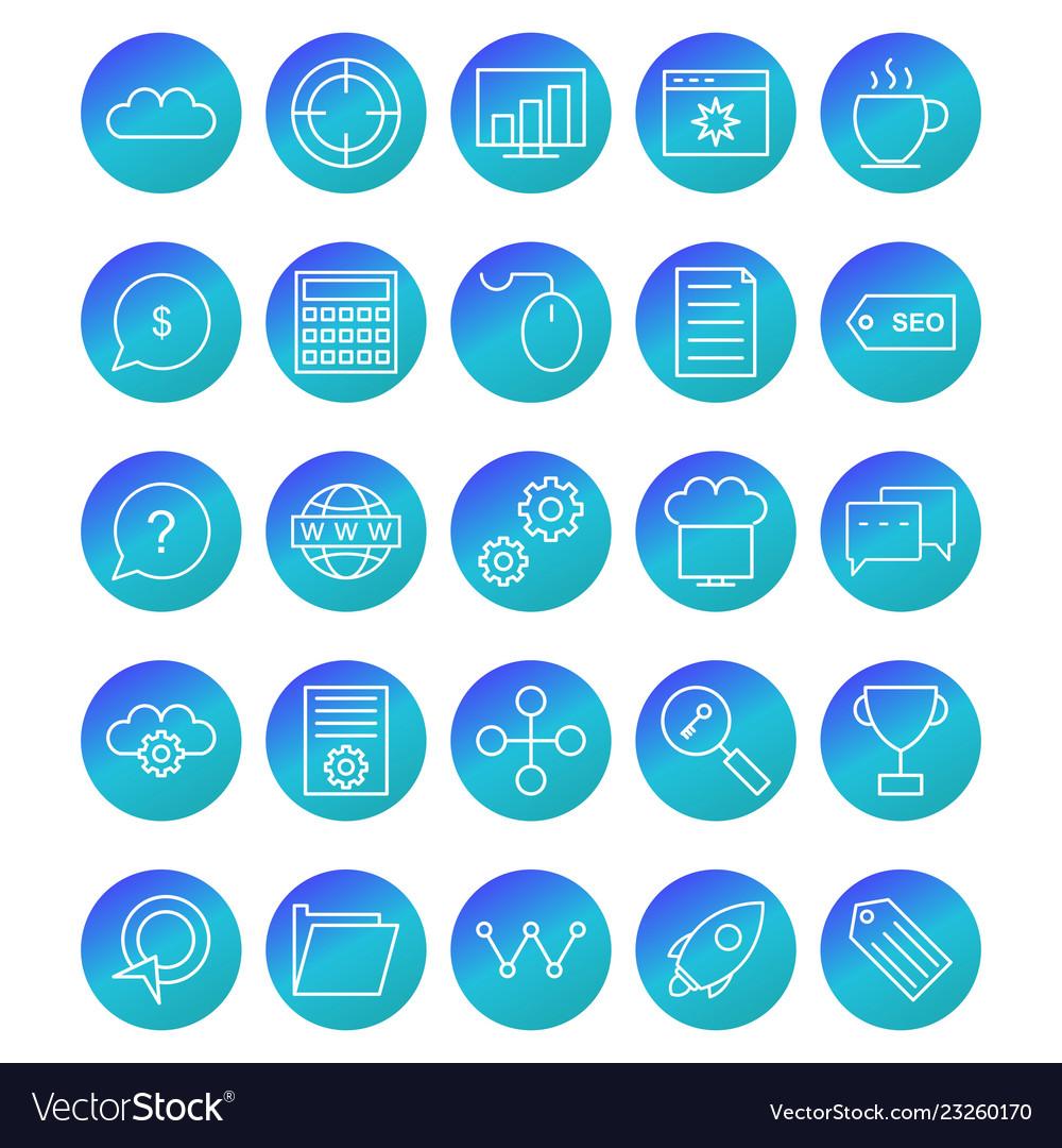 Seo optimization and marketing icons set