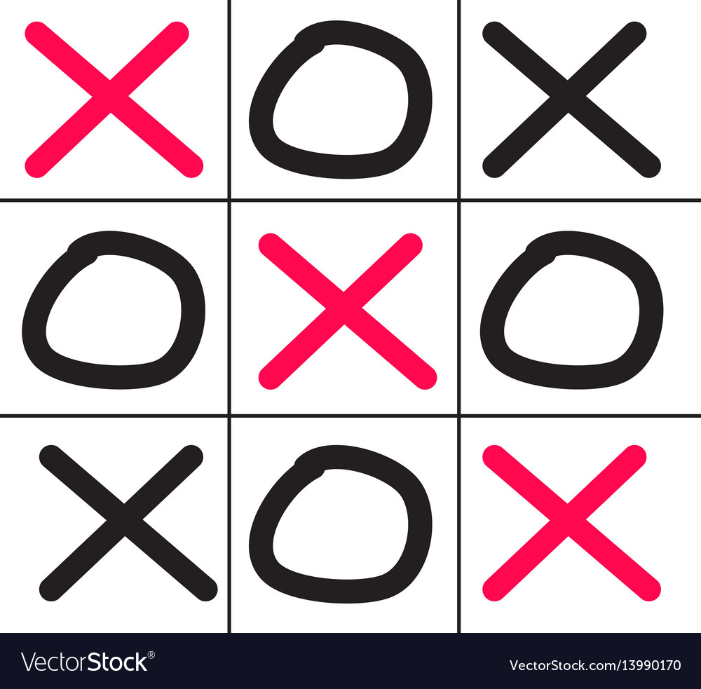 Tictactoe game isolated on white background