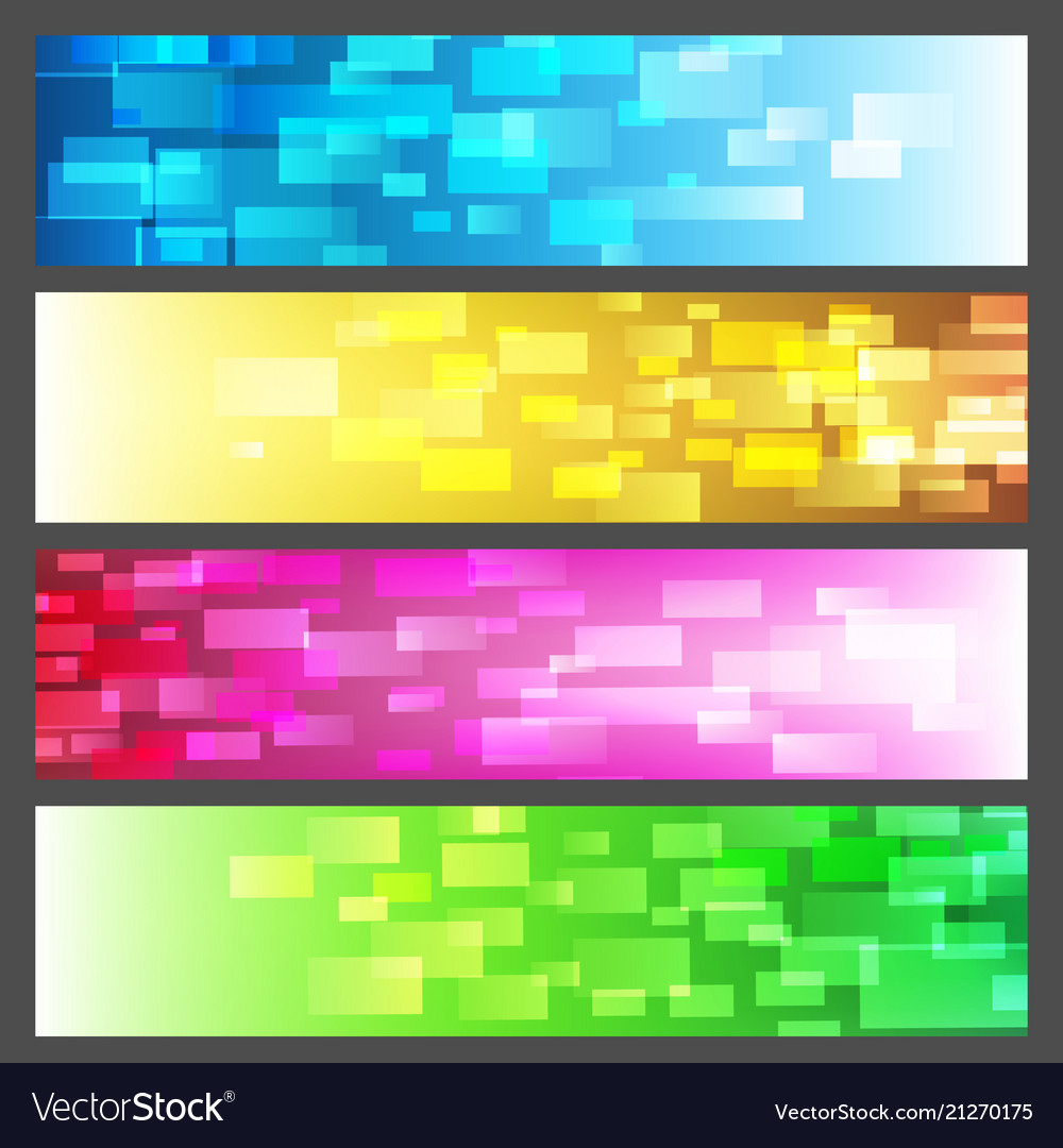 Abstract vibrant colorful banner set