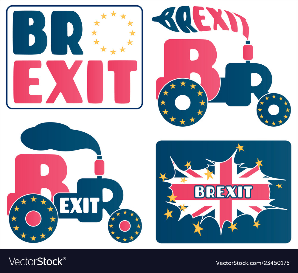Brexit - uk exit from european union eu a set of