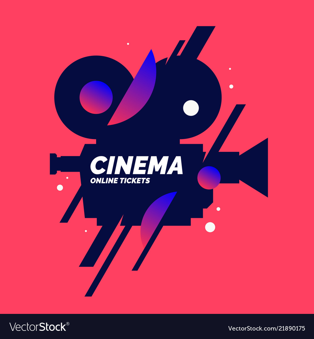 Bright poster with an old movie camera in the