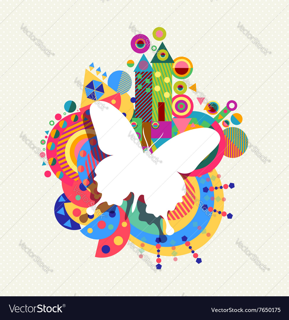 Butterfly icon concept spring color shape vector image