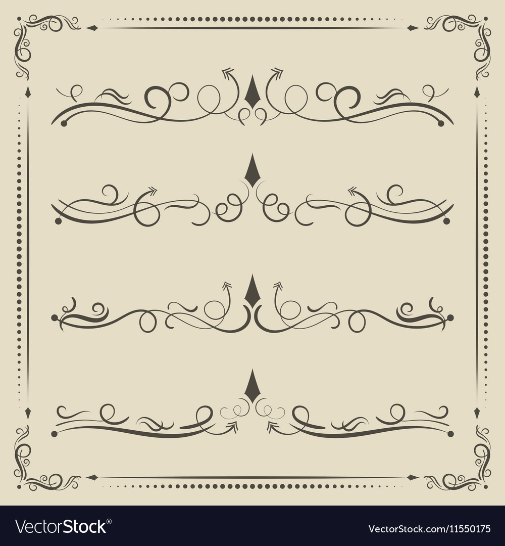 Calligrpahic curled divider and decorative