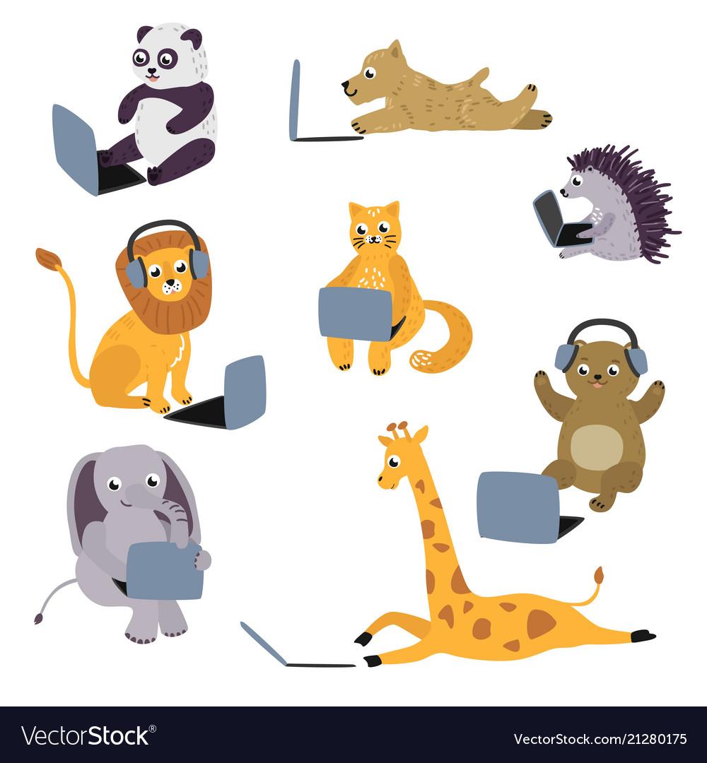 Cartoon animal kids sitting with laptop