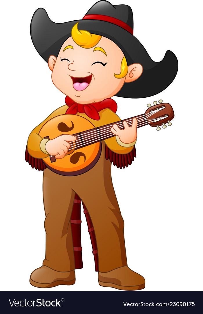 Cartoon cowboy playing guitar