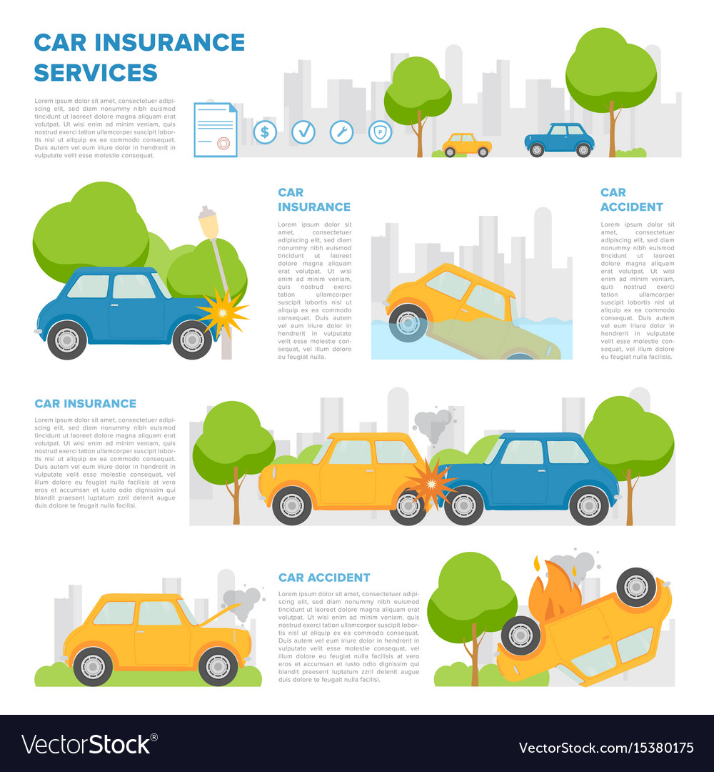 Concept of car insurance against various incidents
