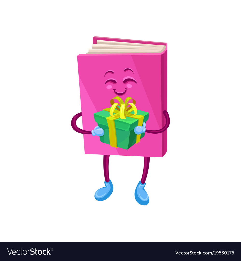 Funny humanized pink book character holding gift