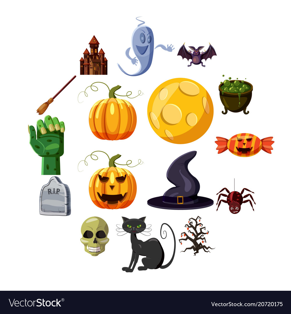 Halloween icons set cartoon style