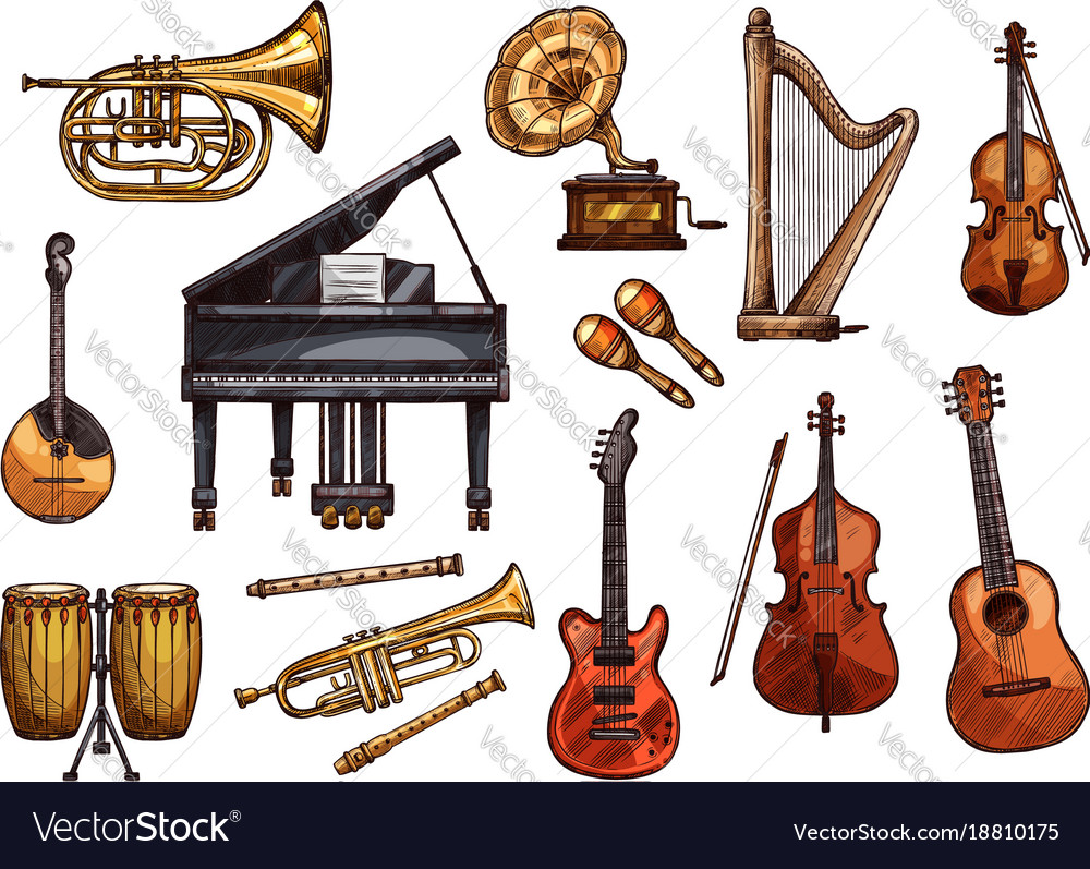 Music concert sketch instruments icons