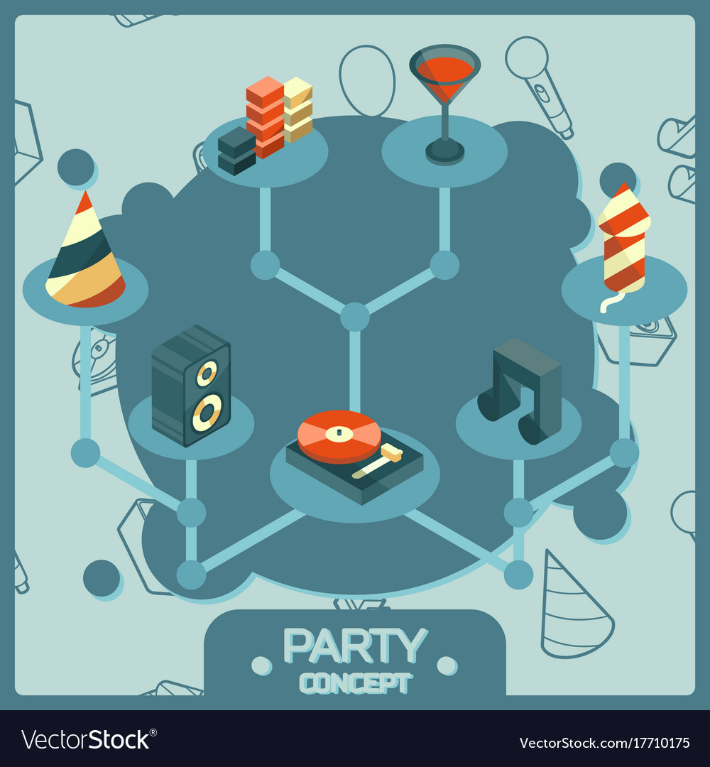 Party color isometric concept icons set vector image