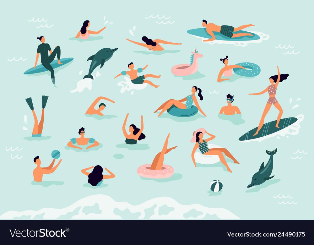 Sea swimming active people diving swim