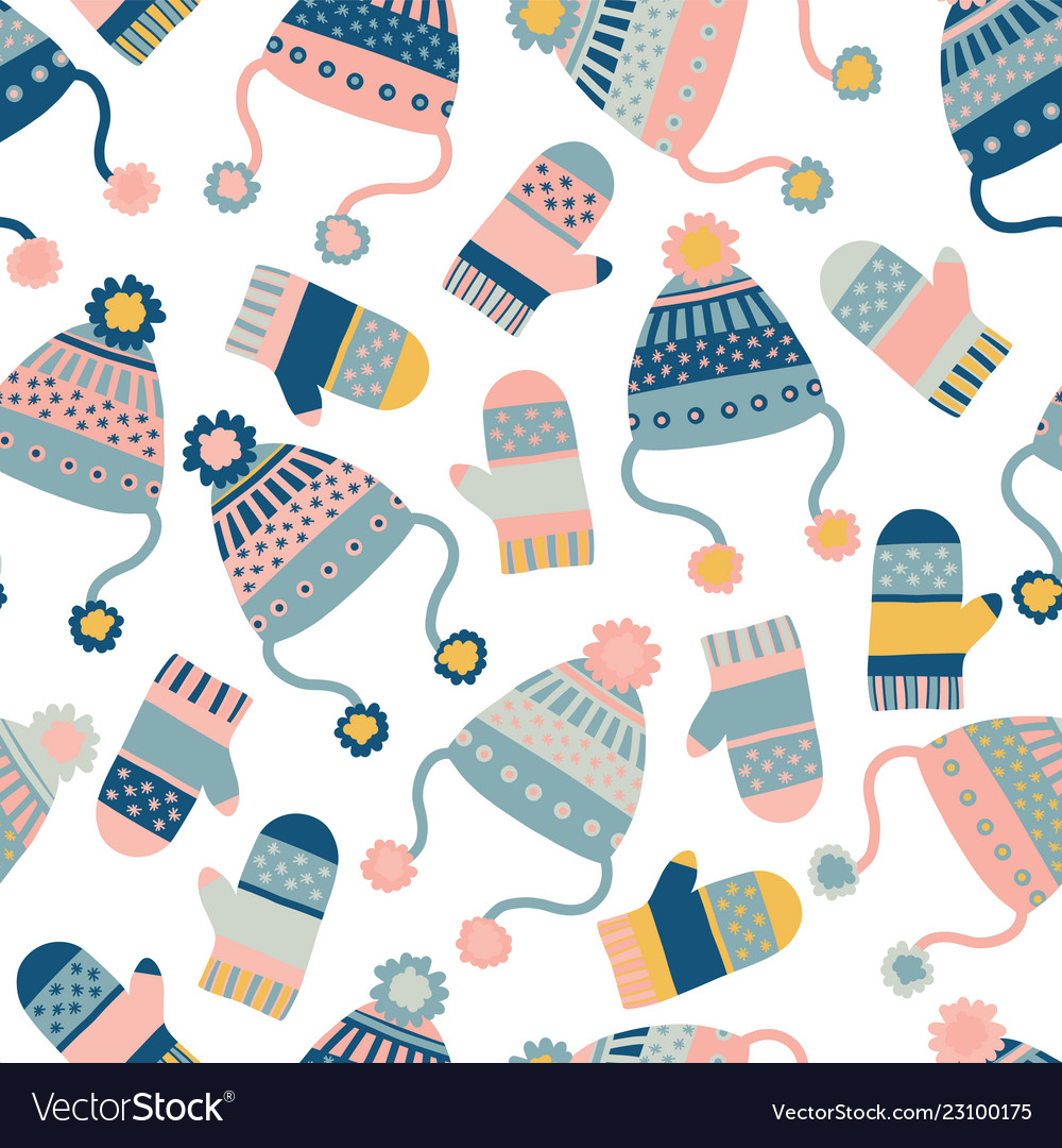 Seamless background with hats and mittens