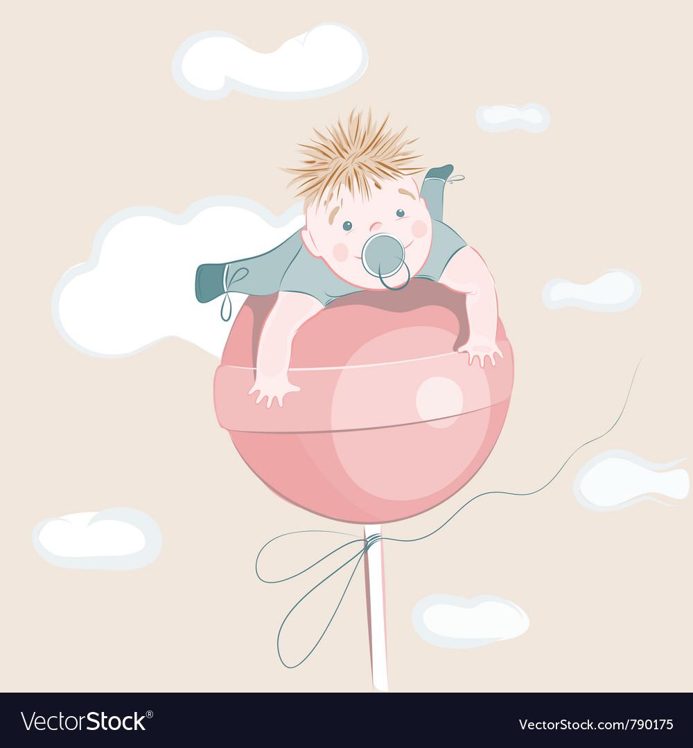 Sweet little boy on the lollipop vector image