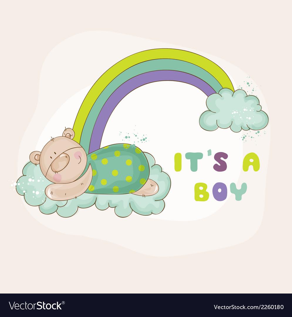 Baby Bear On A Rainbow Baby Shower Card Vector Image