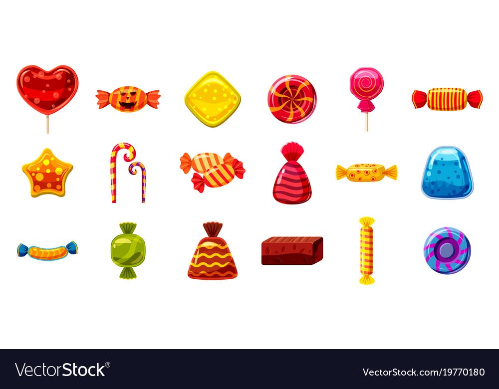 Candy icon set cartoon style