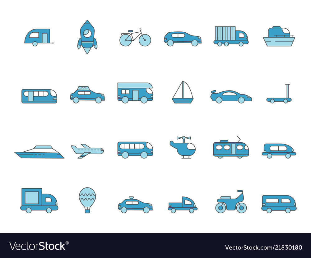 Cars line icons transportation colored icons