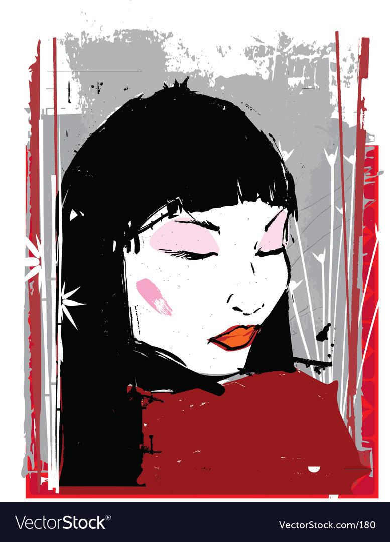 China girl ink illustration vector image