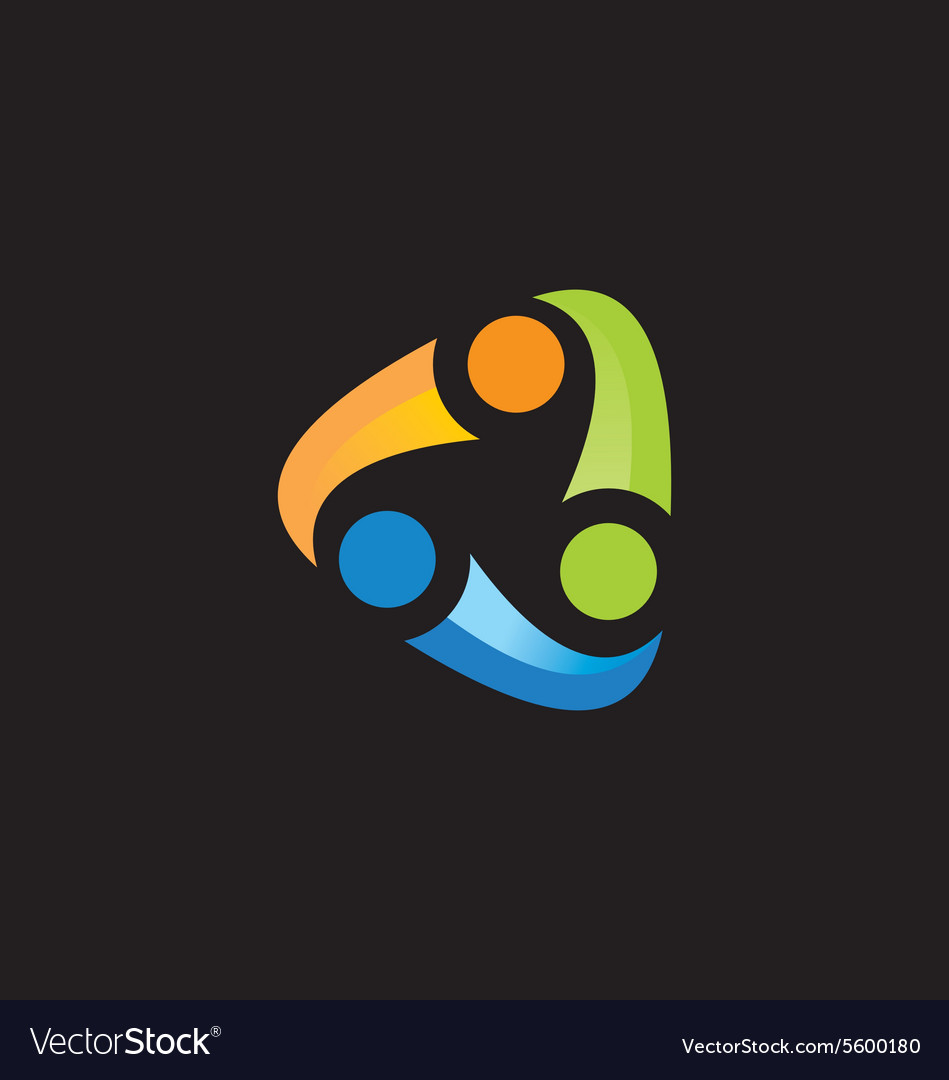 Circular abstract people connection logo