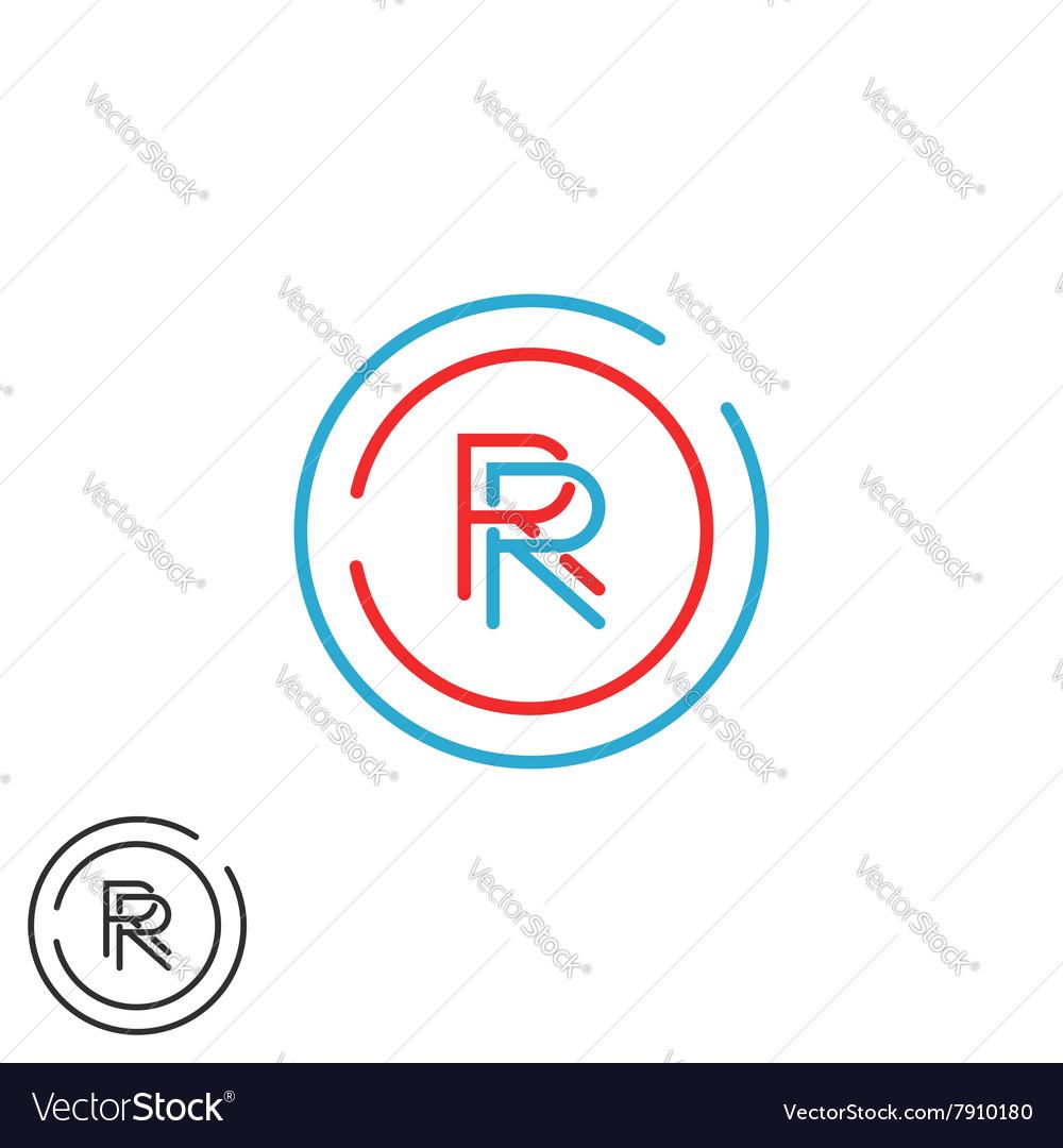 Combination RR logo hipster monogram letter R vector image