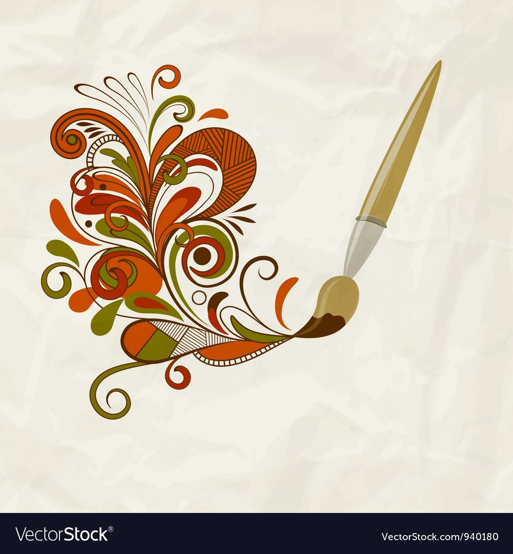 Concept cartoon brush painting floral design vector image