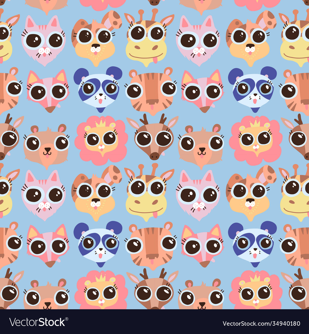 Cute cartoon animals faces seamless pattern in