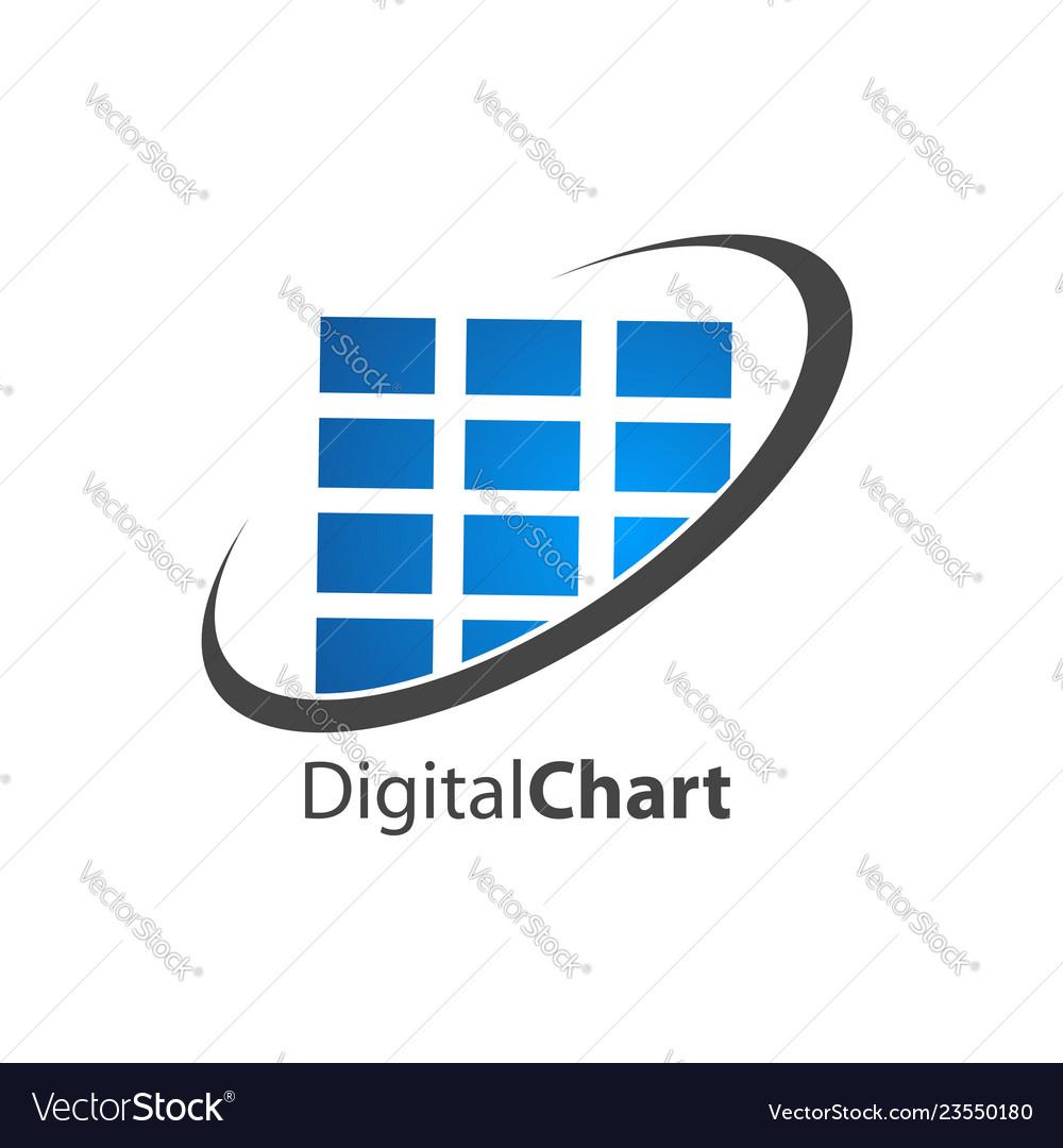 Digital chart block logo concept design symbol