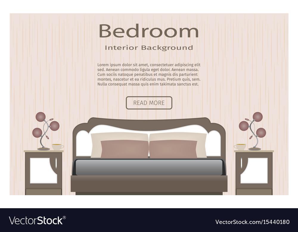 Elegance bedroom interior banner for you design vector image