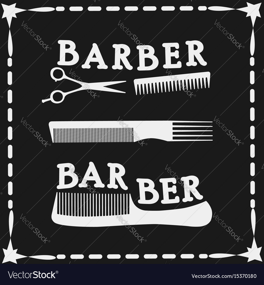 Frame hairdressing scissors and comb icon
