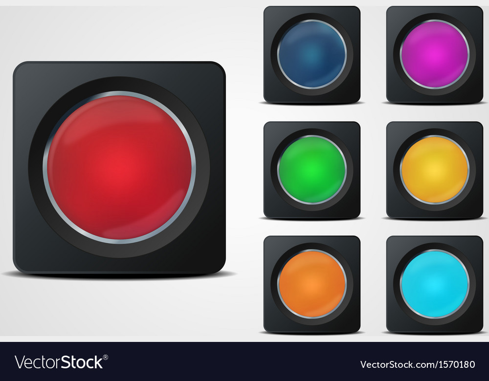 Glass button set vector image