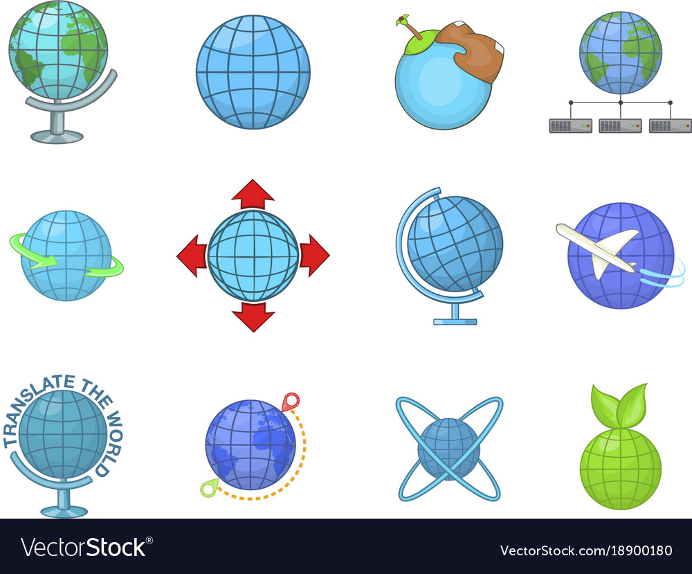 Globe icon set cartoon style