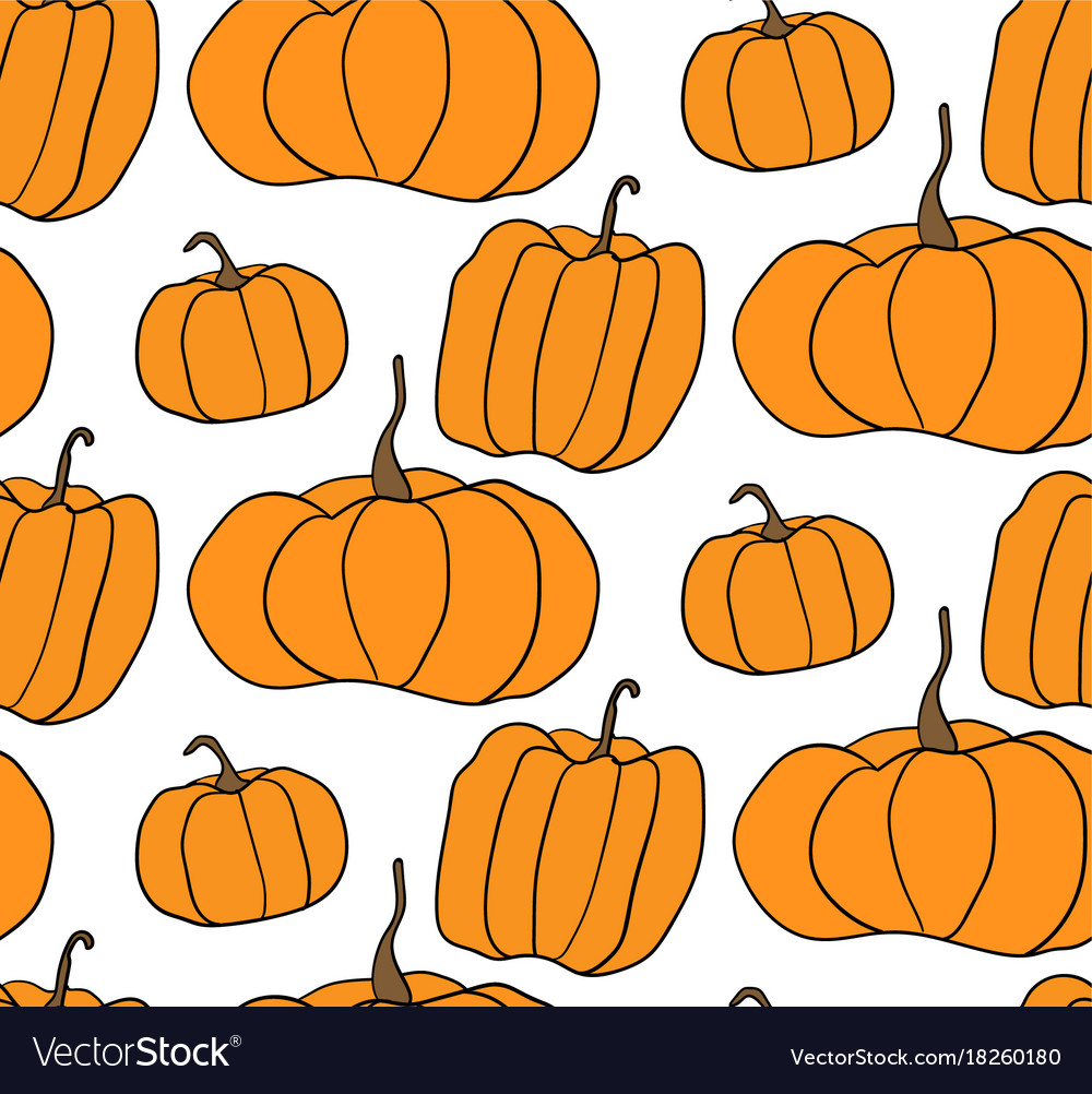 halloween pumpkin pattern white background vector image rh vectorstock com