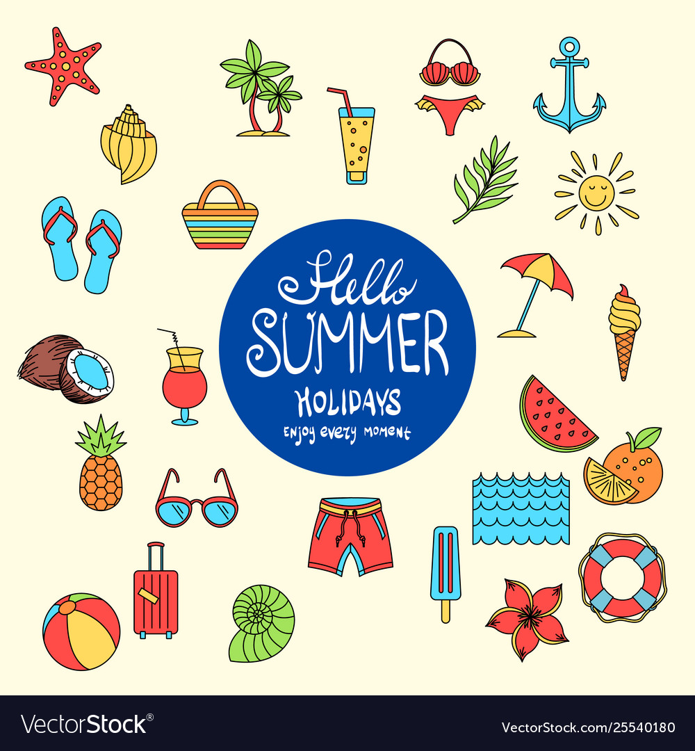 Hello summer collection colorful funny ice
