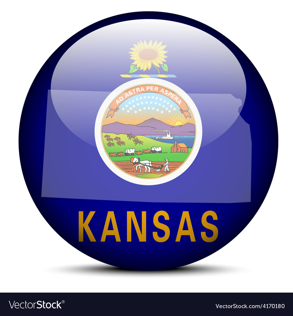 map on flag button of usa kansas state royalty free vector