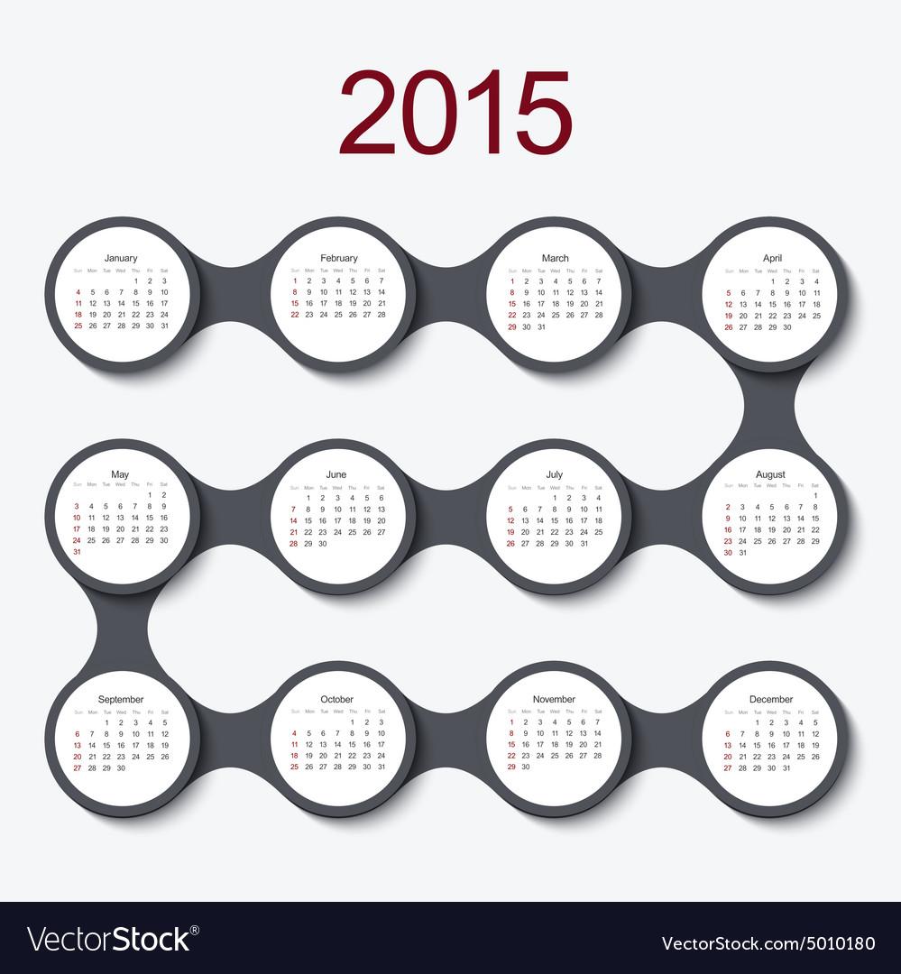 Modern circle 2015 calendar