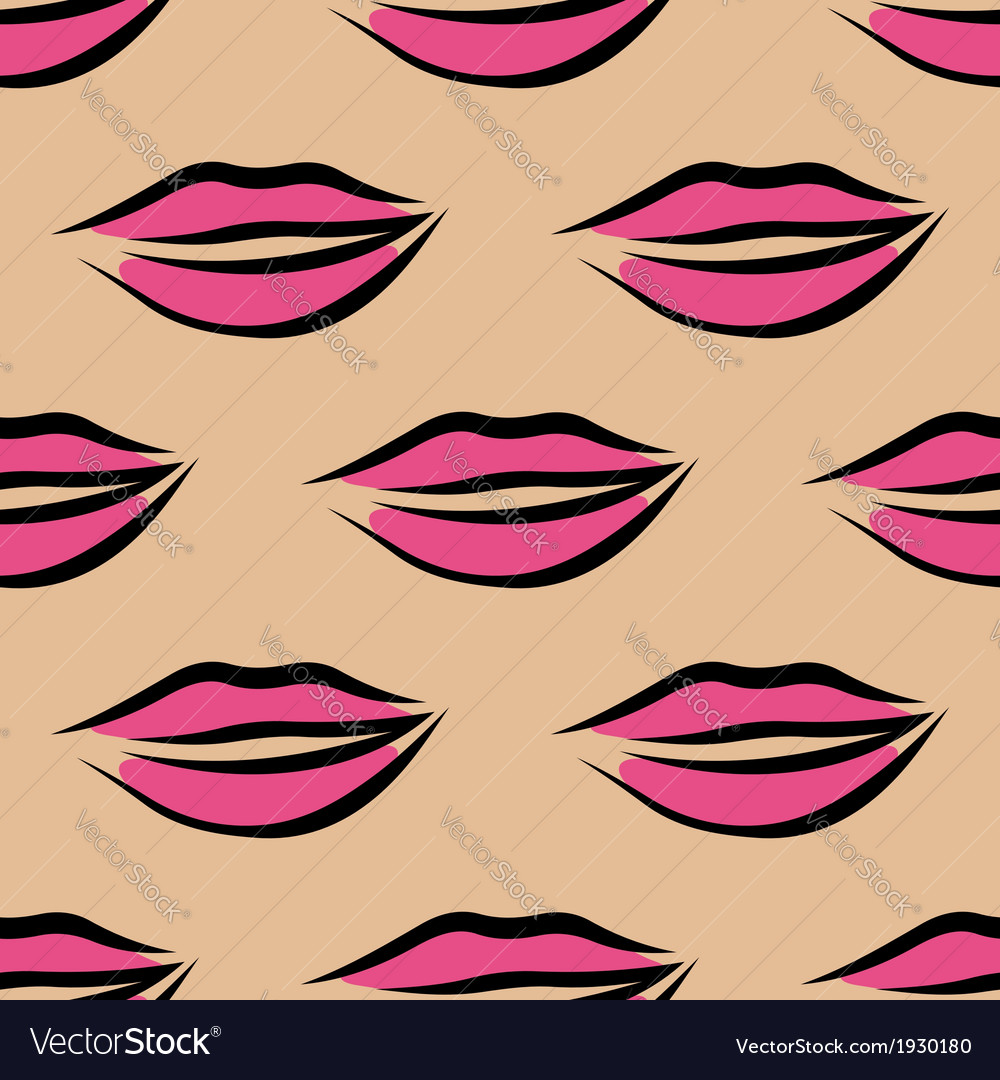 Repeat seamless pattern of sexy pink lips vector image