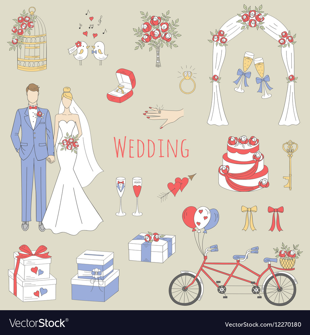 Set of hand drawn wedding icons