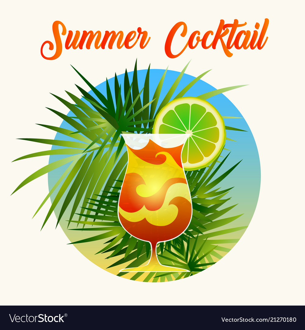 Summer cocktail retro poster