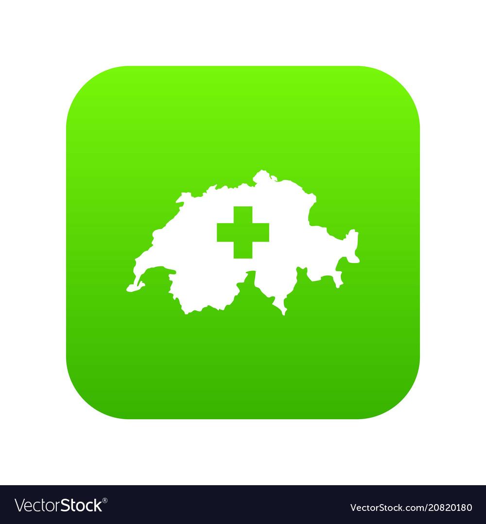 Switzerland map icon digital green