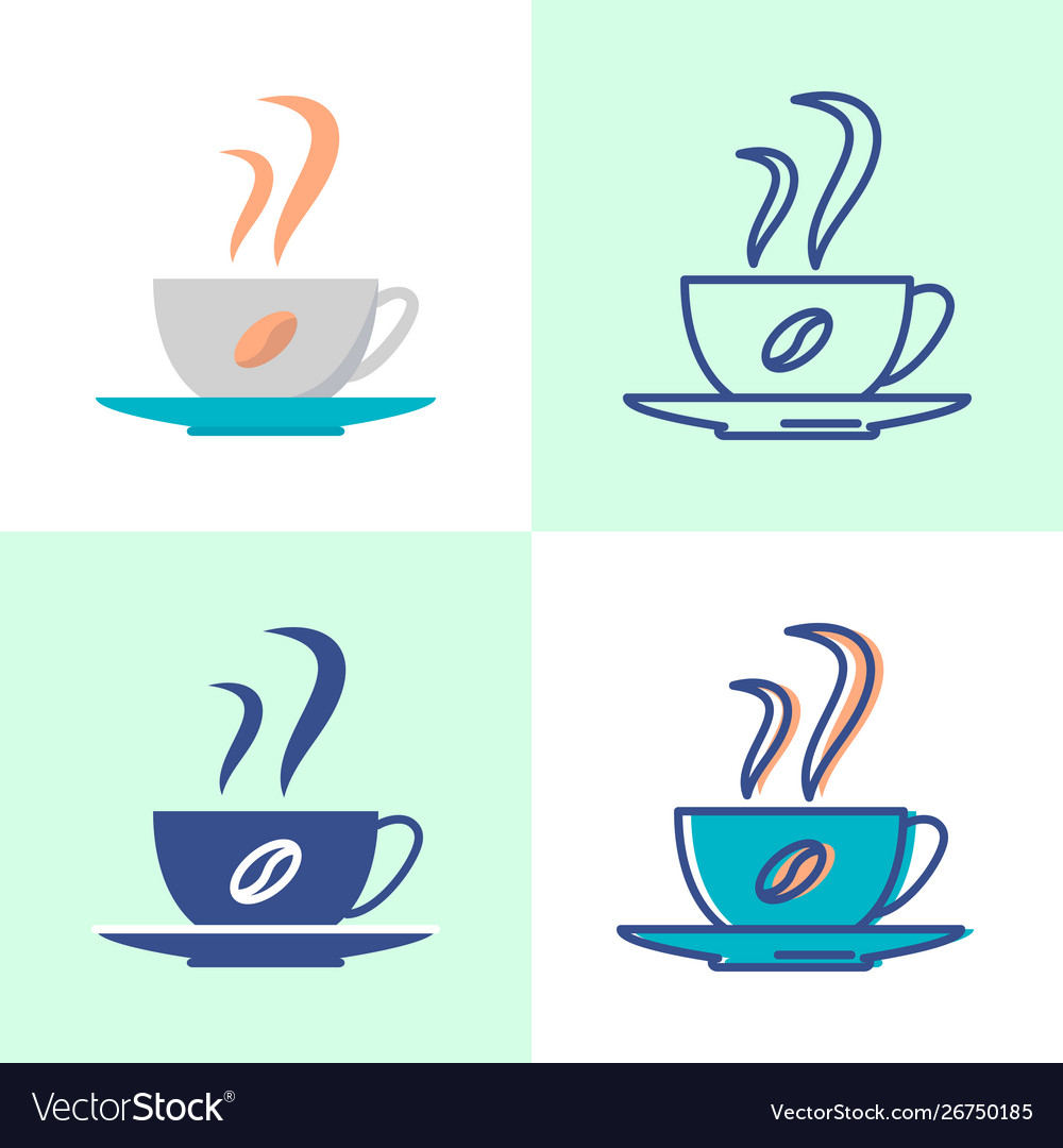 Coffee cup icon set in flat and line style
