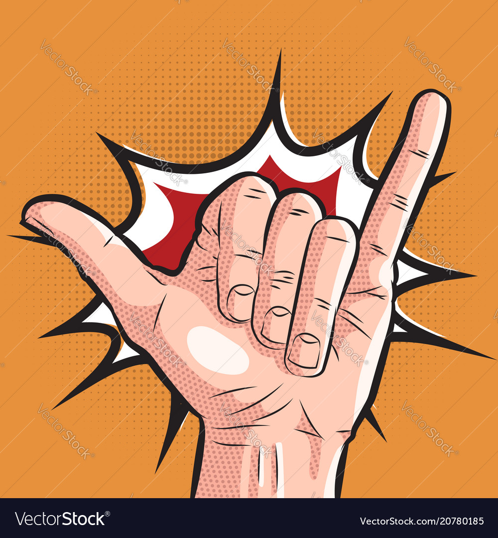 Comic hand showing shaka sign pop art surf