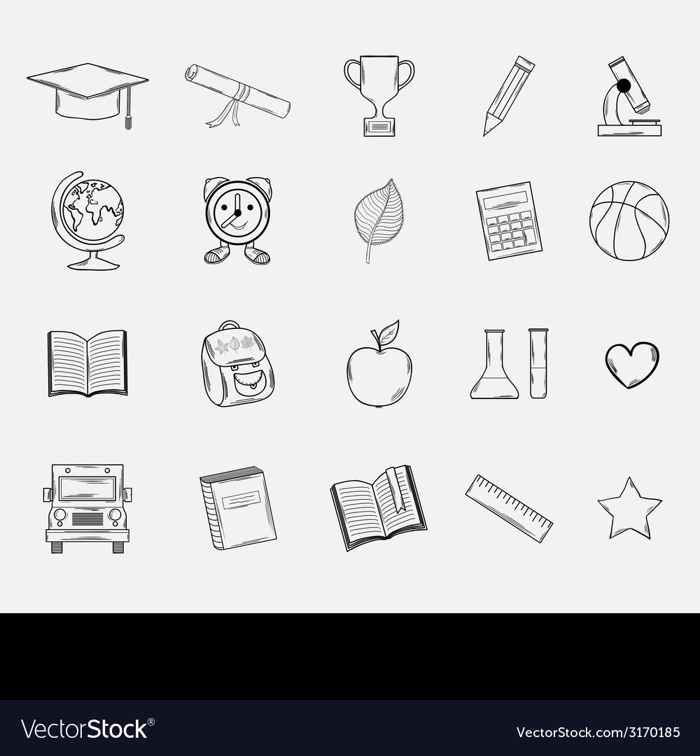Doodle school icons set