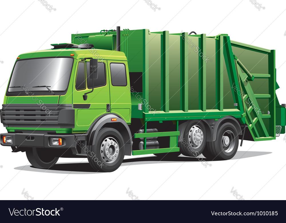 Green garbage truck vector image