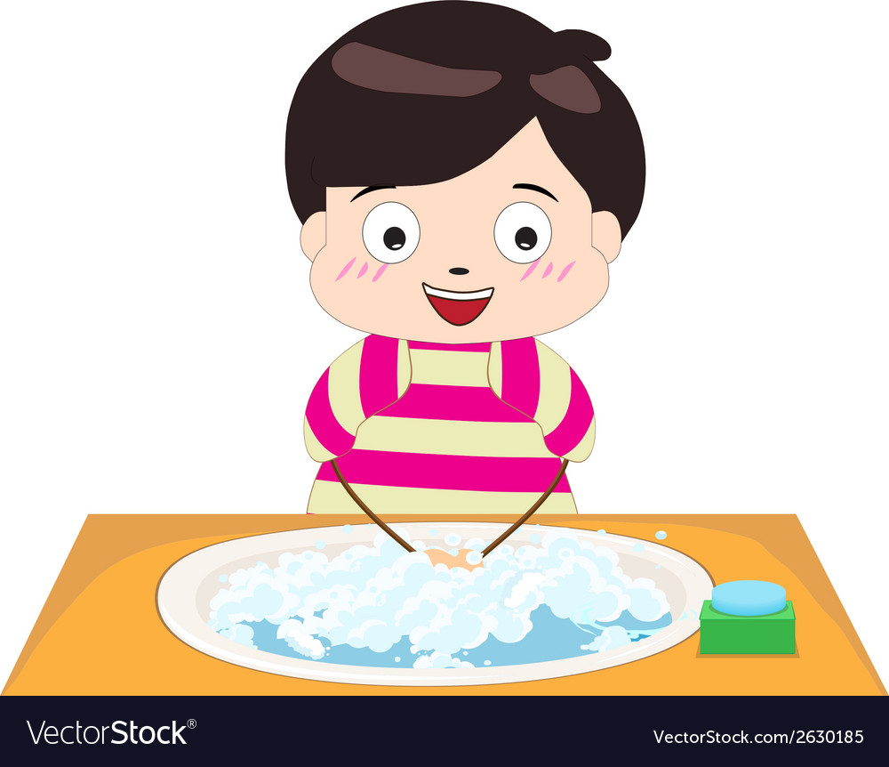 Little boy washing his hands vector image