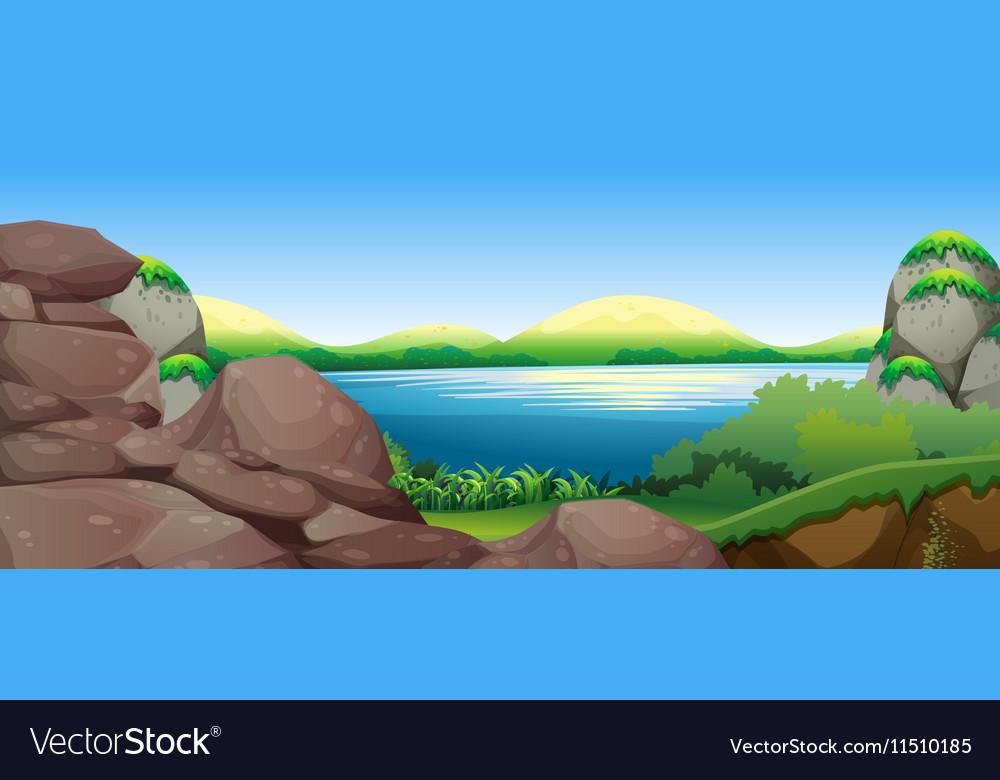 Nature scene with lake and hills
