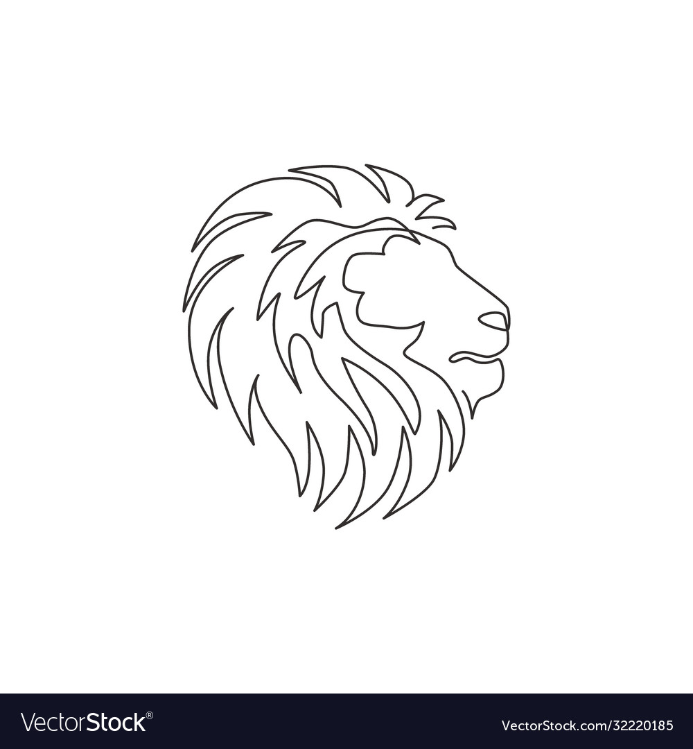 One Single Line Drawing Wild Lion Head Royalty Free Vector You will receive this design in the following sizes: vectorstock