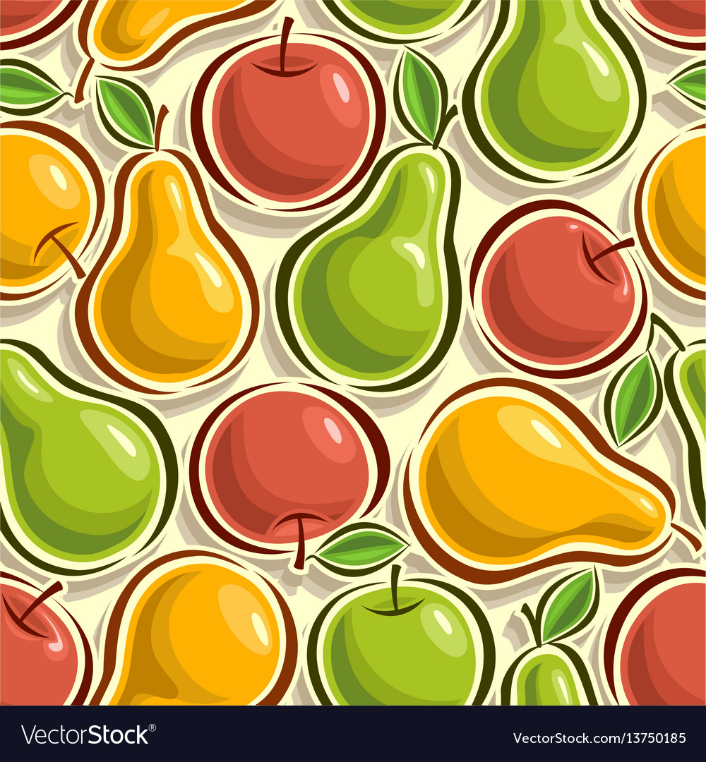 Seamless pattern apples and pears
